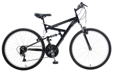 Cycle Force Dual Suspension Mountain Bike, 26 inch wheels, 18 inch frame, Mens Bike, Black