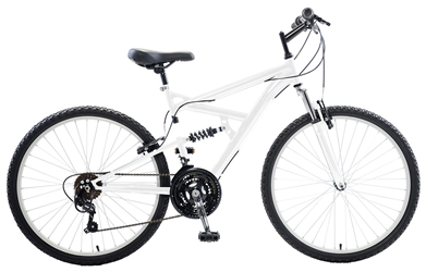 Cycle Force Dual Suspension Mountain Bike, 26 inch wheels, 18 inch frame, Mens Bike, White