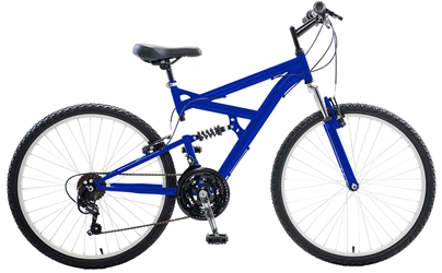 Cycle Force Dual Suspension Mountain Bike, 26 inch wheels, 18 inch frame, Mens Bike, Blue