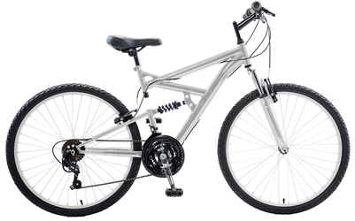 Cycle Force Dual Suspension Mountain Bike, 26 inch wheels, 18 inch frame, Mens Bike, Silver