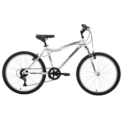 Piranha 7 Speed Hardtail MTB, 24 inch wheels, Girls Bike, Silver